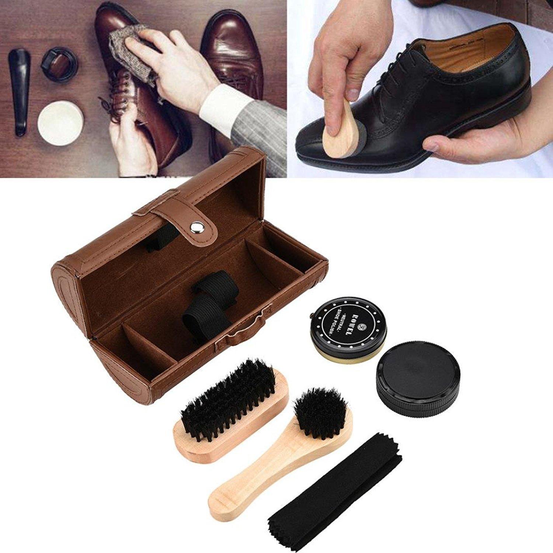 Hometom Shoe Care Kit, Brush Cleaner 6-Piece Travel Shoe Shine Brush Kit with Case Shoe Bucket, Polish, Brushes, Sponge Cloth