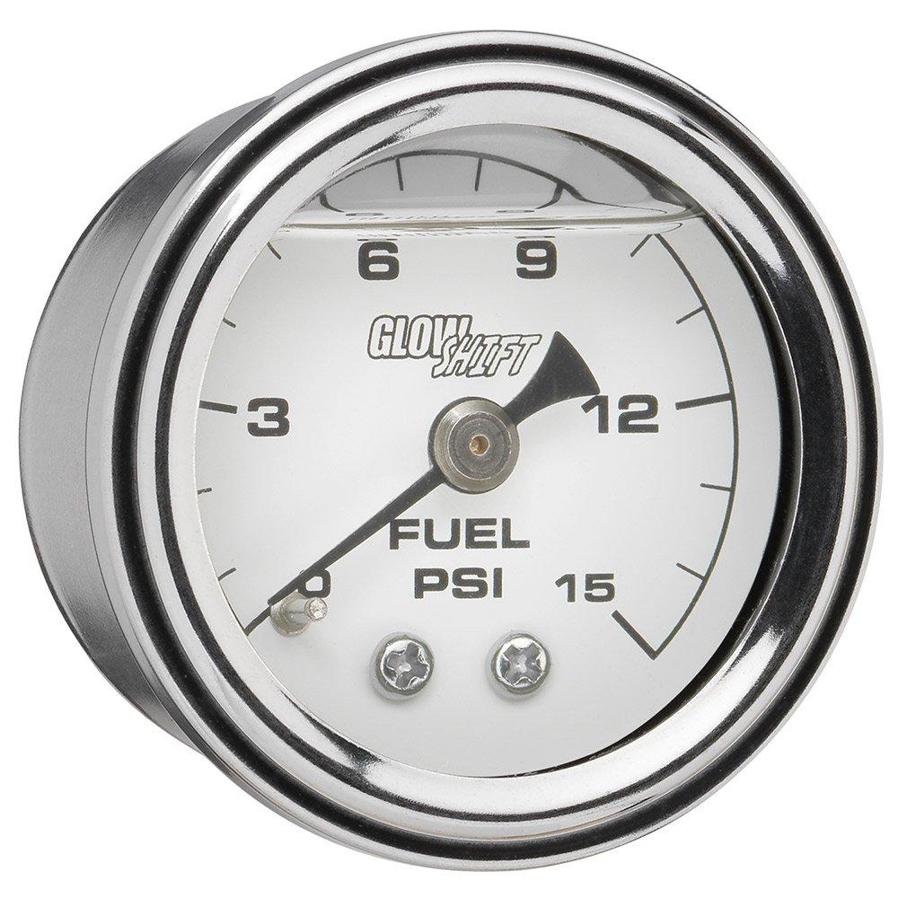 GlowShift Liquid Filled Mechanical 15 PSI Fuel Pressure Gauge - White Dial - Waterproof - Installs Under the Hood - 1/8-27 NPT Thread - 1-1/2 (38mm) Diameter