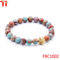 Natural stones bracelet 2016 trending products wholesale fashion jewelry gold plated lion round wood beads bracelet bangles