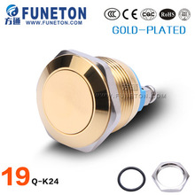 19mm mechanical metal illuminated anti-vandal push button switch with led