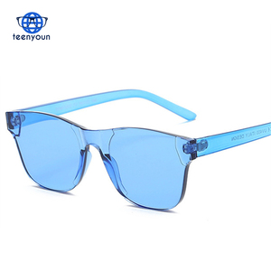 Teenyoun Colorful Sunglasses Men 2018 Glasses for Women Candy Sunglass Frameless Eyewear Retro Rimless Square Sun Glasses UV400