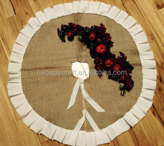 Hot selling christmas tree skirts burlap with bows
