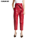 2018 Fashion Women Sexy Custom Leather Red Pants High Waist Trousers With Belt
