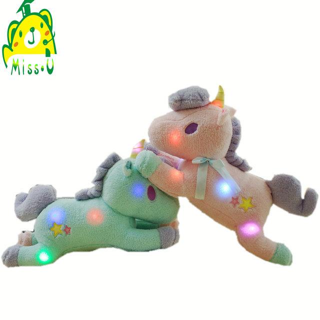 China Supplier 55CM LED Stuffed Animal Baby Luminous Unicorn Plush Toy With Grow electronic led Lighting