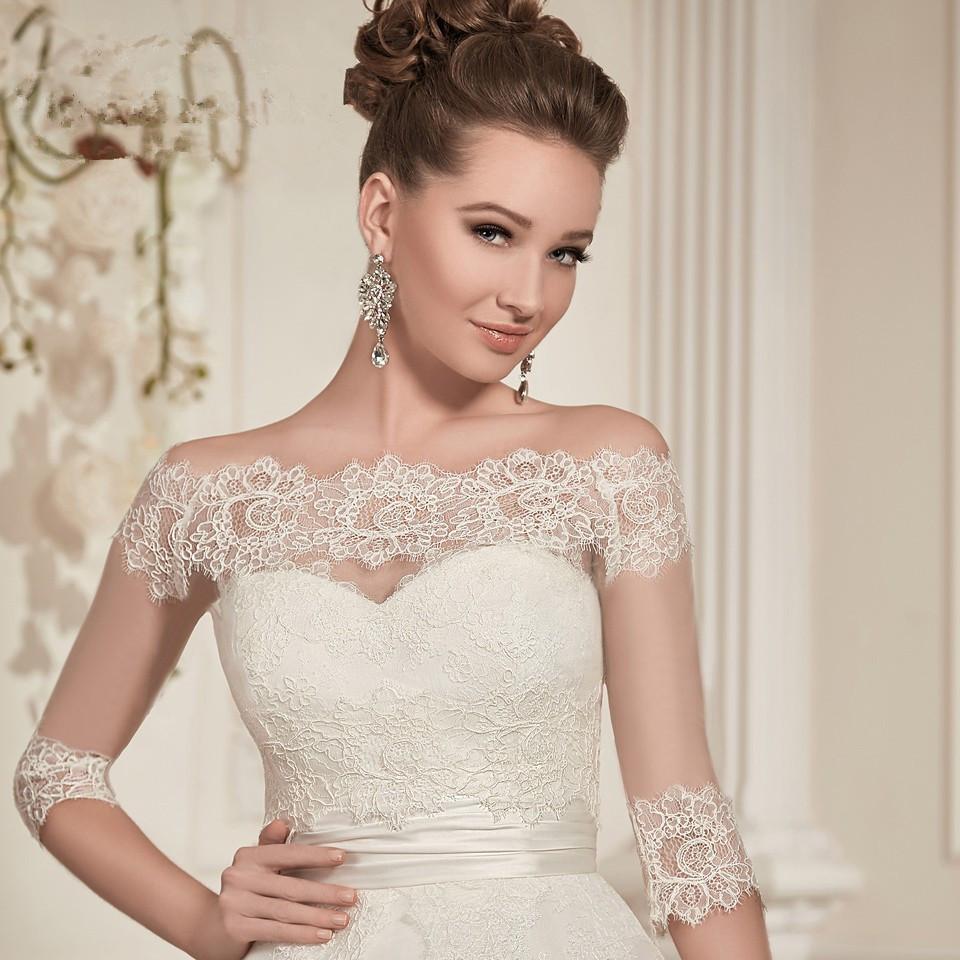 168746b75f077 aliexpresscom buy bolero feminino renda lace cape wedding bolero bridal  jacket 34 long sleeve off shoulder