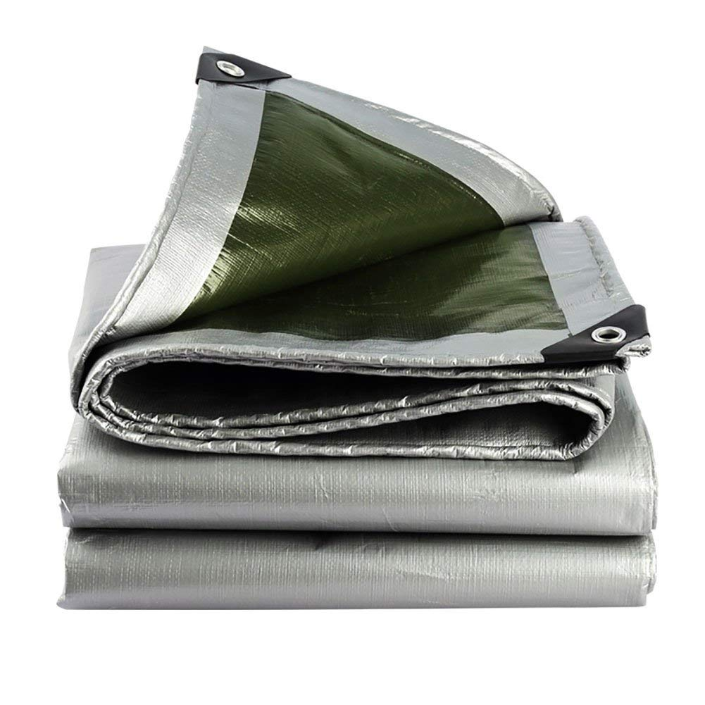 COZY HOME AAA Double-sided waterproof tarpaulin, outdoor seat cover cloth picnic mat using tent Wear-resistant tear-resistant anti-static linoleum waterproof cloth (silver + green) Size: 1.52m