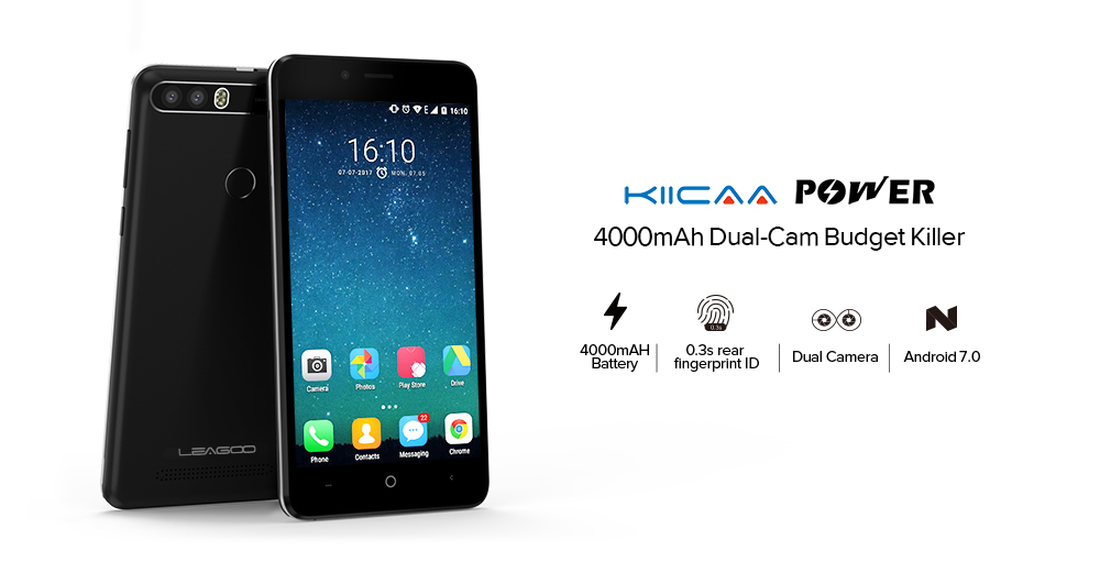 LEAGOO KIICAA POWER 2GB+16GB 4000mAh Battery Dual Back Cameras 5.0'' Android 7.0 MTK6580A Quad Core Black/Gold Color