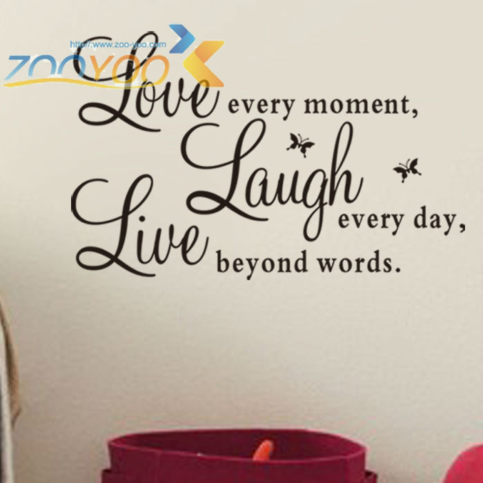 Free Shipping Live Love Laugh Live quote removable decorative wall decal home warm waterproof  3D wall sticker home decoration
