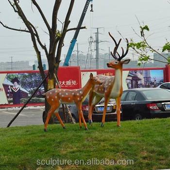 2017 New Abstract Sculpture Deer Fiber Glass Statue For Outdoor Garden  Animal Statues