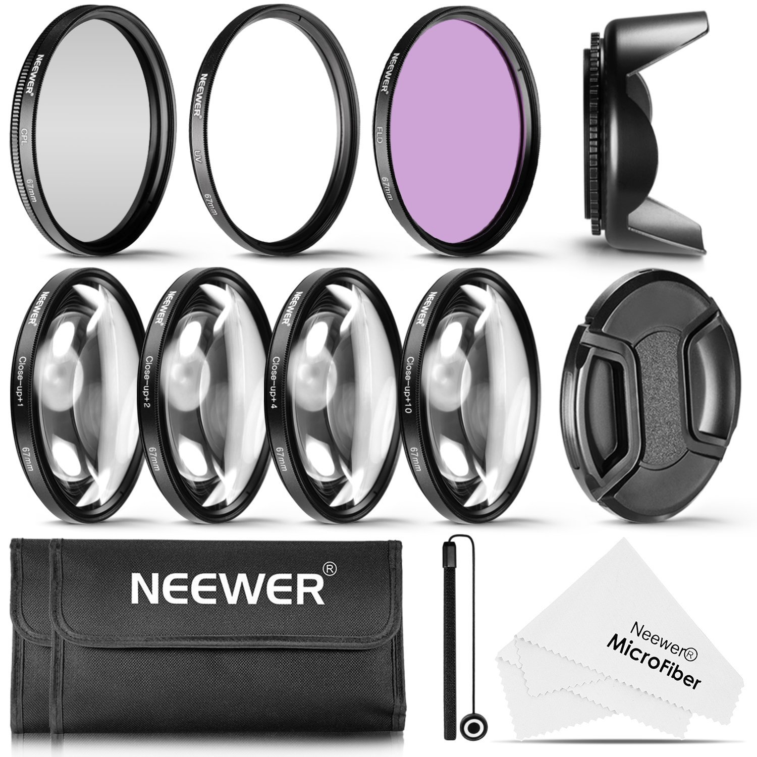 Neewer 67MM Professional UV CPL FLD Lens Filter and Close-up (+1, +2, +4, +10) Accessory Kit for Lenses with a 67mm Filter Size
