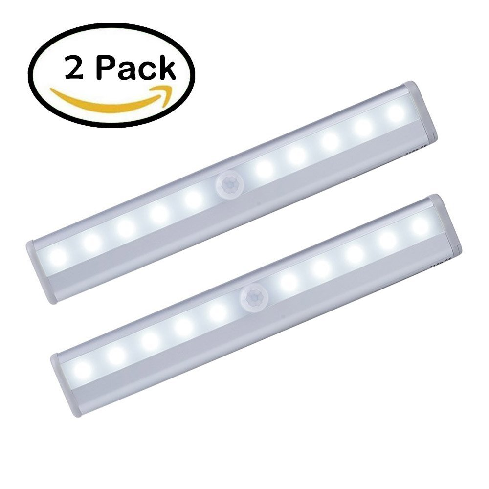 Cheap battery led light for closet find battery led light for get quotations winy 2 pack 10 super bright led pir sensor portable wireless wall closet cabinet night light mozeypictures Image collections