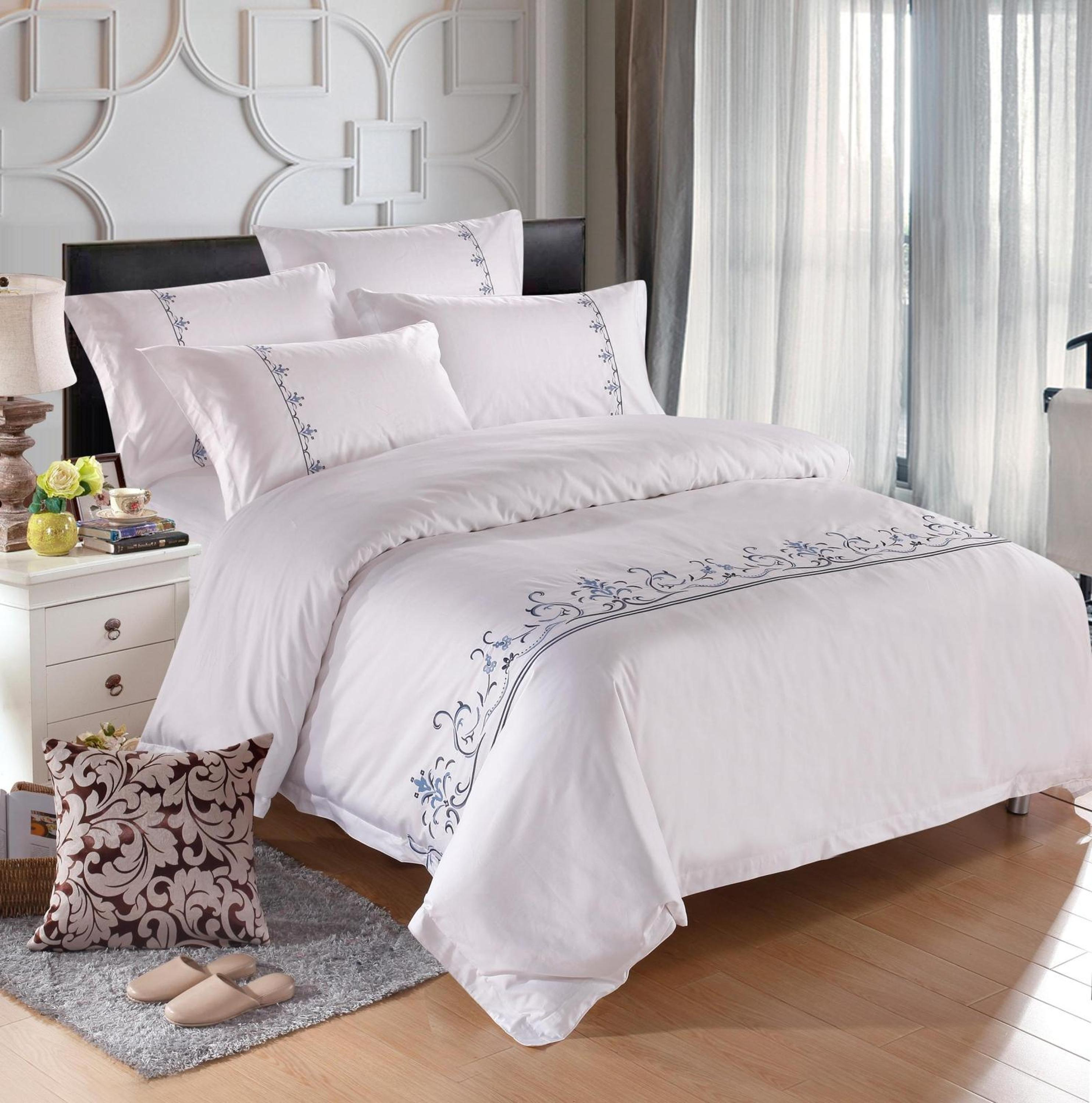2019 New Style Machine Embroidery Organic Cotton Handmade Bed Sheets Design