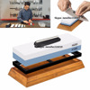 white corundum sharpening stone whetstone with bamboo and silicone holder and an angle guider