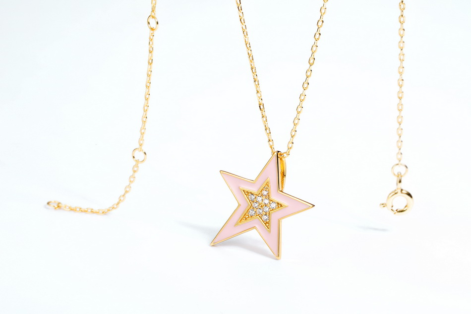 Trendy new design sterling silver enamel gold star jewelry solitaire pendant necklace