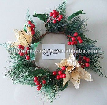 artificial christmas flower candle ring wreath - Decorative Christmas Candle Rings