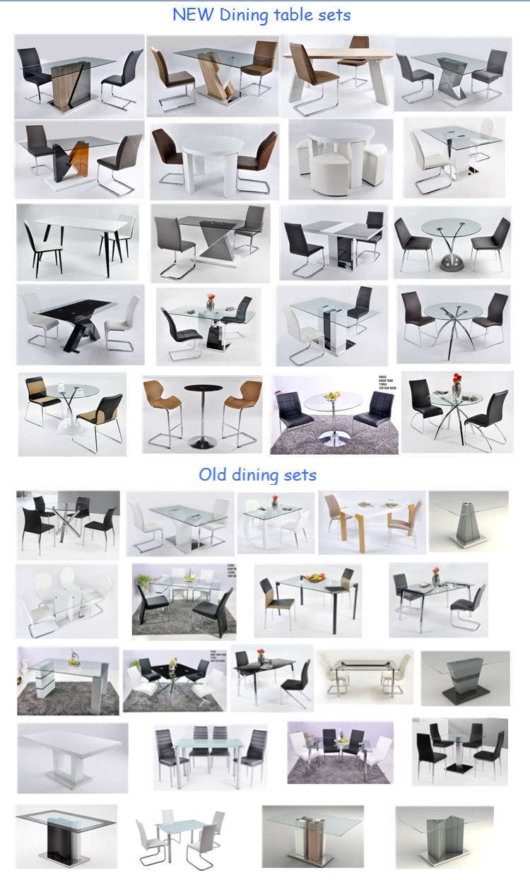 Simple Designed Modern Style Tempered Glass Dining Table Living Room Use Part 46