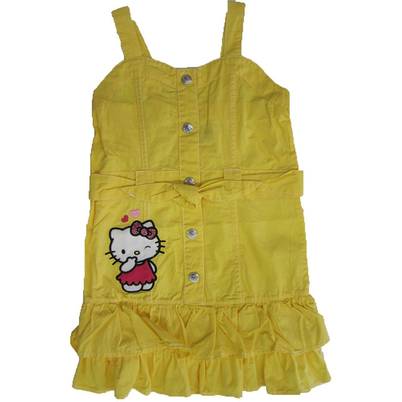 4210903a4 Get Quotations · Hello Kitty Little Girls Yellow Waistband Ruffle Hem  Button Dress