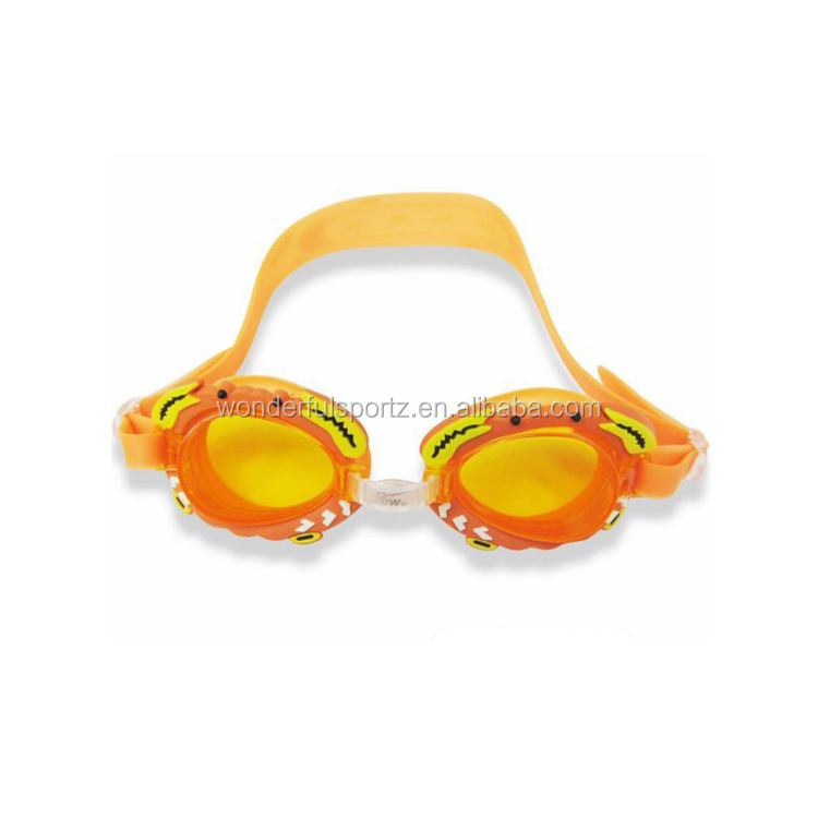 Fashion kids swim goggles with one piece soft silicone frame