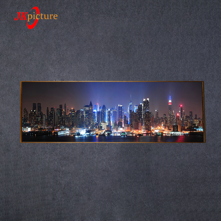 Wholesale Home Decoration Living Room Night City View Landscape LED Canvas Oil Painting