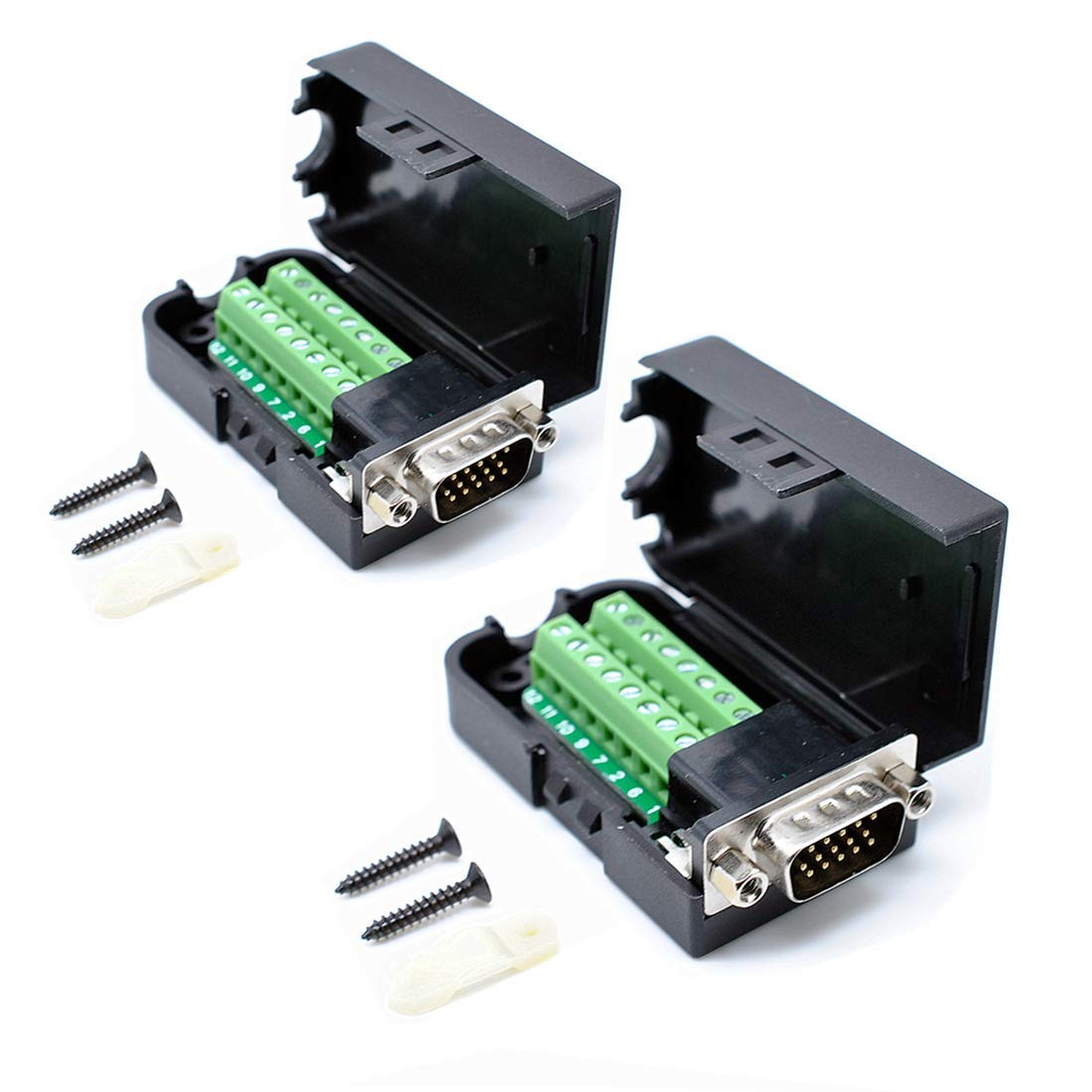 Oiyagai 2pcs DB15 3+9 D-SUB VGA Male 3Row 15Pin Connector Adaptor with NUT Terminal Breakout Board Free Welding