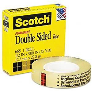 """~:~ 3M/COMMERCIAL TAPE DIV. ~:~ 665 Double-Sided Office Tape, 1/2"""" x 25 Yards, 1"""" Core, Clear"""
