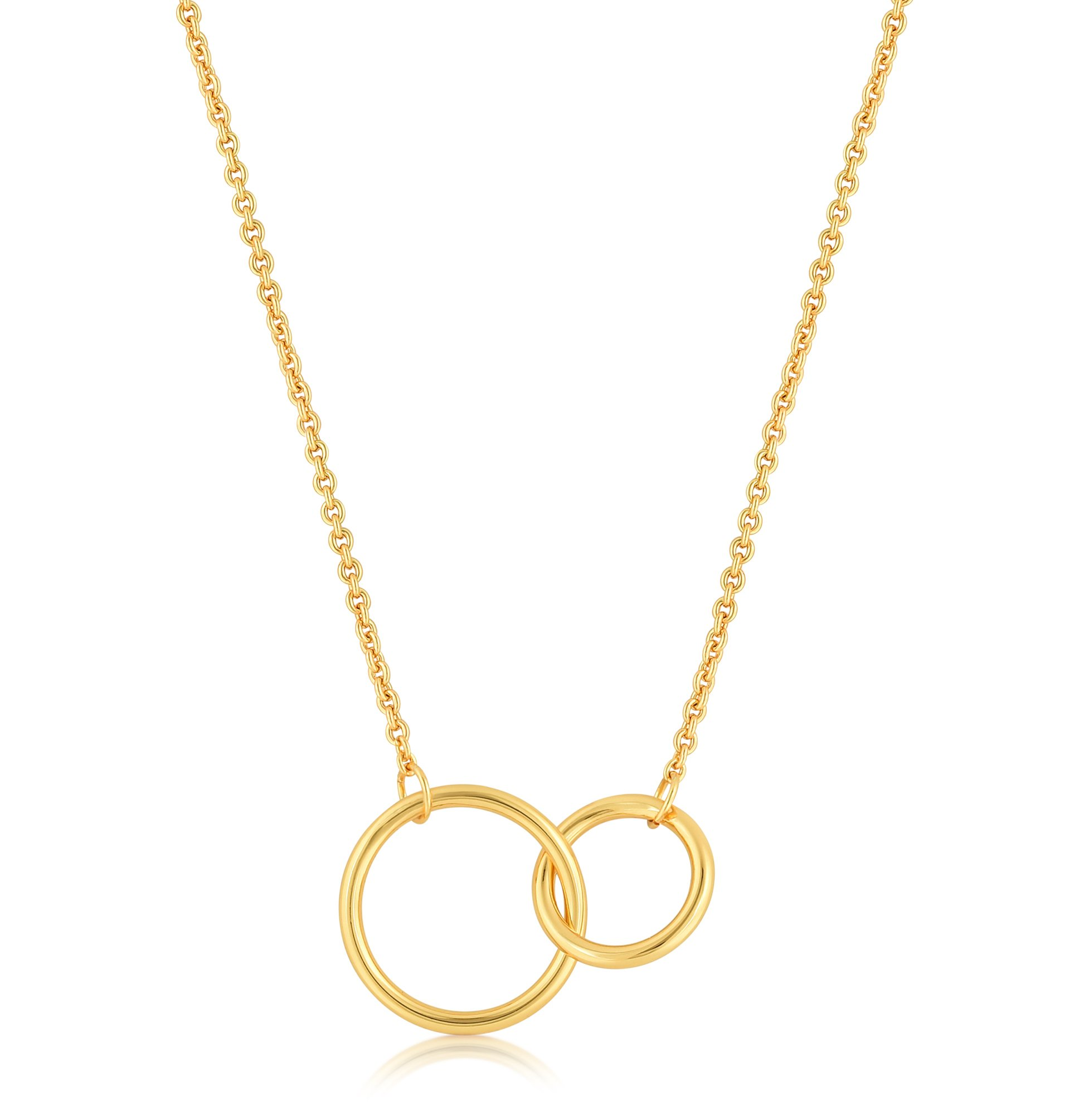 ed83cc3b8 Get Quotations · ESCALIE Interlocking Circle Necklace, Double Circle  Necklace, Circle Pendant Necklace, Gold Plated