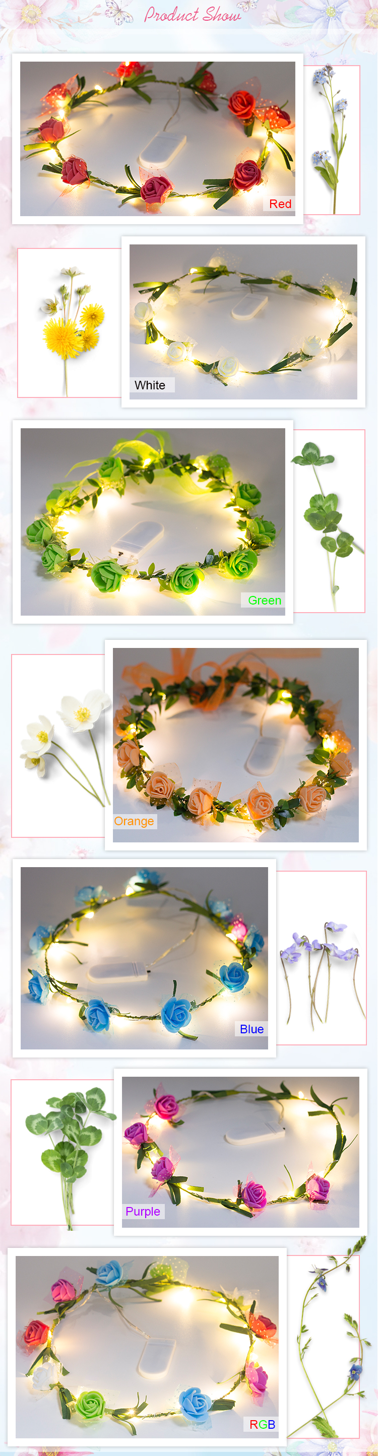 2017 Trending Products Wholesale Bridal Wedding LED Flower Crown ,Light Up Floral Headband
