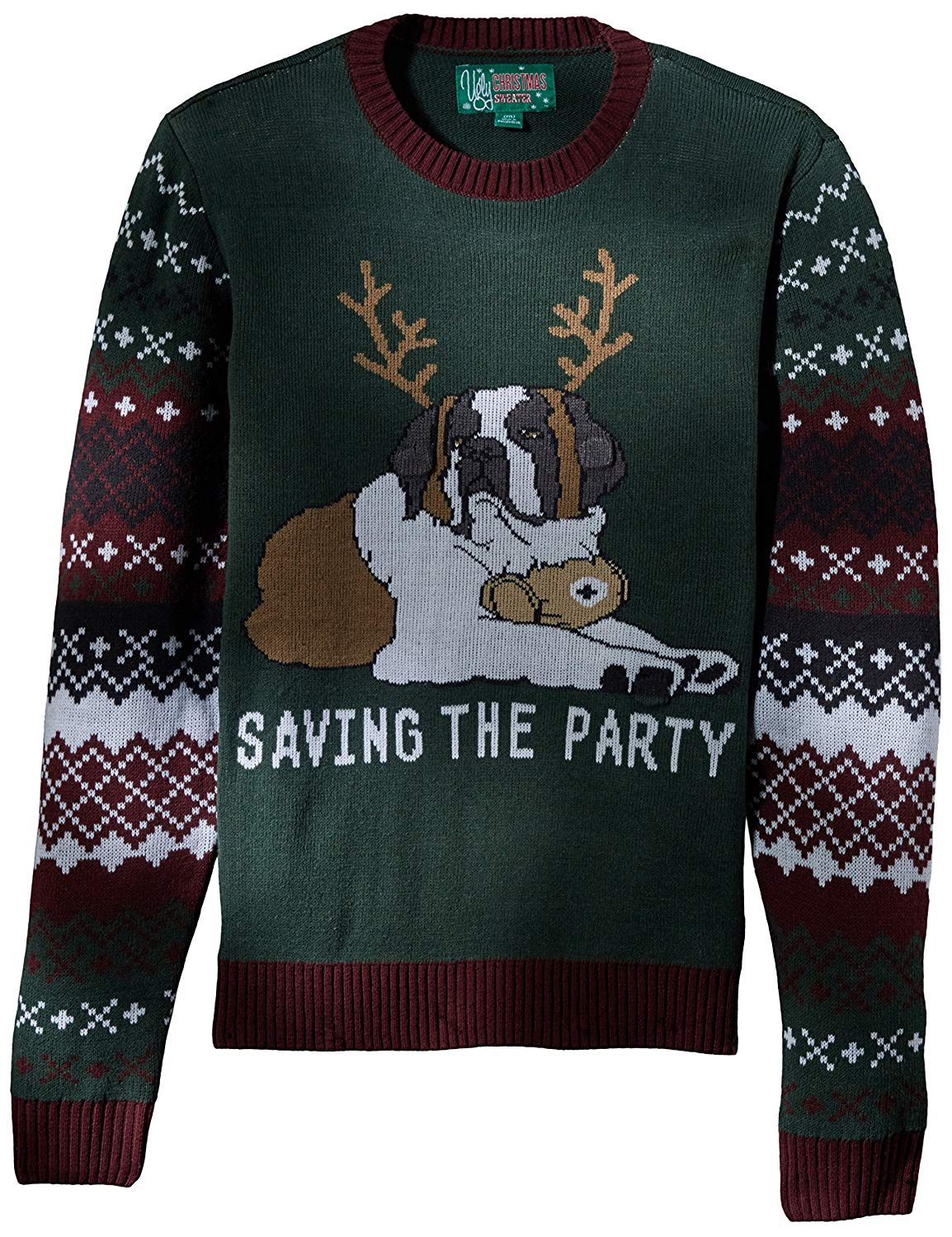 Ugly Christmas Sweater Men's Light-up-Saving The Party