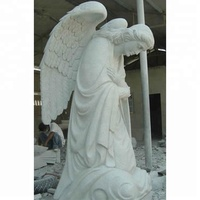 Prefabricated Praying White Marble Angel Statue with big Wings