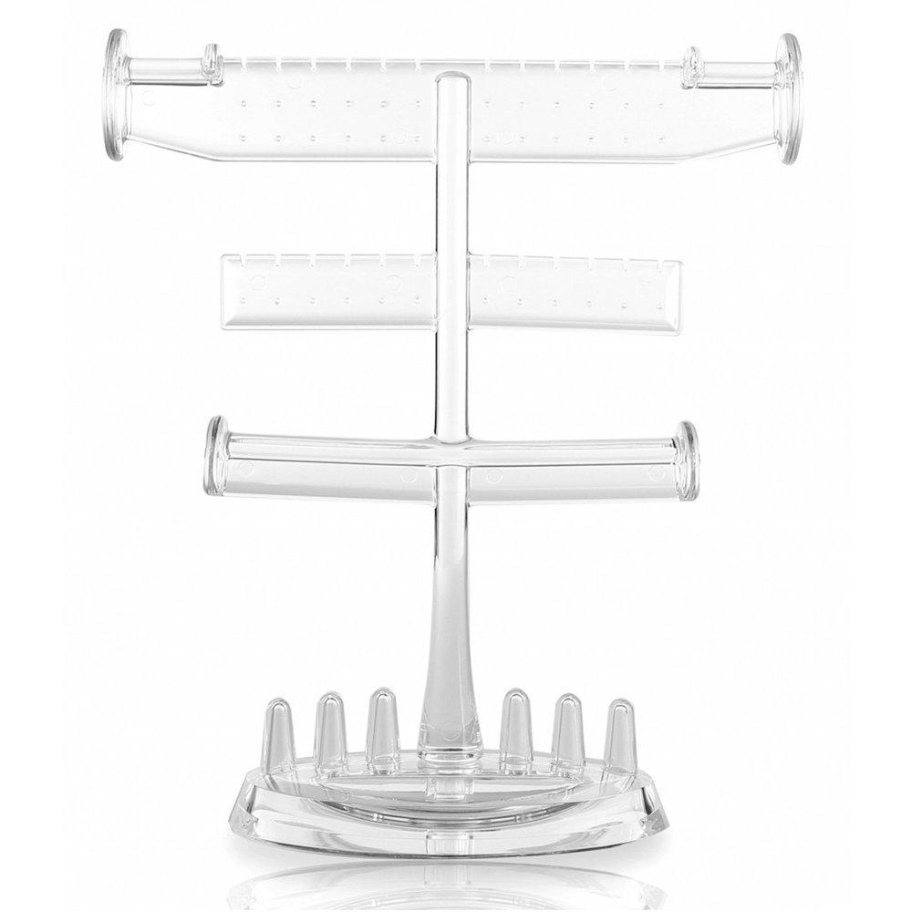 3 Tier Bracelet & Necklace Jewelry Organizer Display Tree Rack White Tabletop Earring Holder Rings Hanger