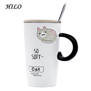 Cute Cat Design Tall Office Ceramic Tea Coffee Mug With Lid Spoon Cover Product On