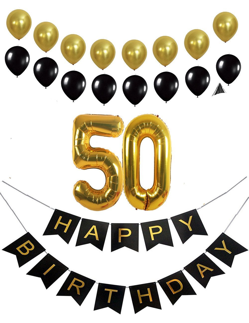 Get Quotations 50th Birthday Decorations Party Supplies Favors Happy Banner Mylar Balloons Number 50