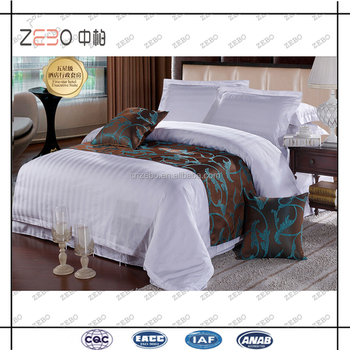 Luxury 400 Thread Count Sateen Stripe Linens White Bed Sheets For Hotels