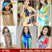 Women Fashion cheap promotional scarves , mix-color chiffon scarves