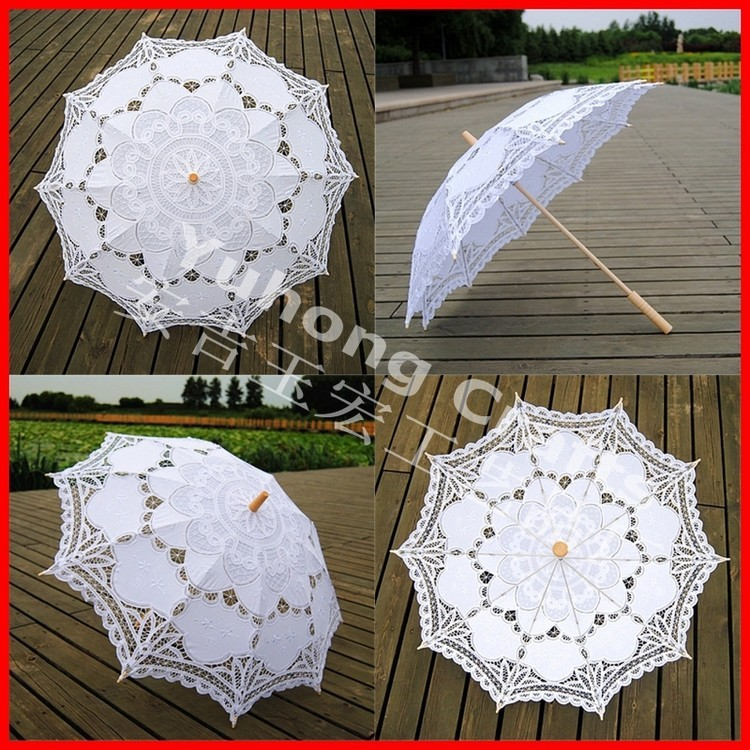 victorian style white lace crafts parasol for promotion