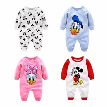 Printed Anti Bacterial Anime Boys Girls Newborn Baby Clothes Romper
