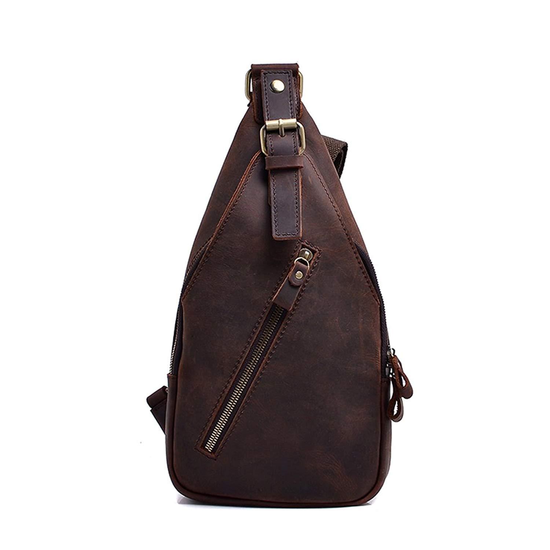 8cdd3c7608 Get Quotations · Genda 2Archer Mens Leather Sling Bags Chest Shoulder Bag  Crossbody Backpack