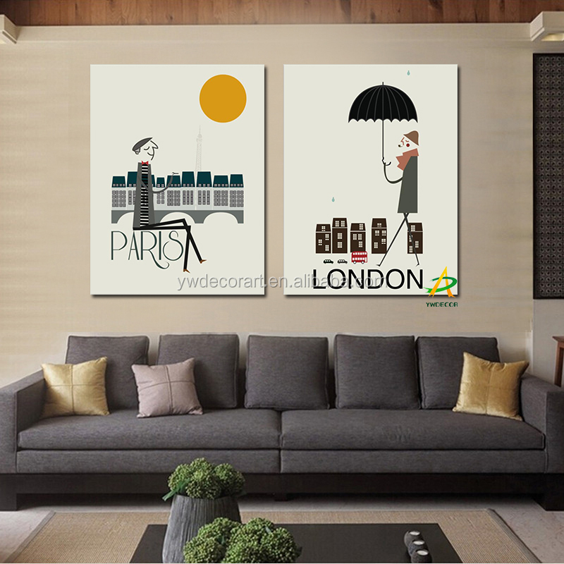 Wholesale Pairs and London life painting wall art painting for Living room Hotel painting 2 piece canvas prints