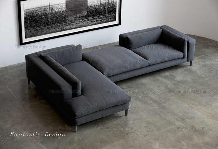 Modern Lobby Sofa Design L Shape Corner Fabric Heated Sofa Modern Sofa  Metal Frame