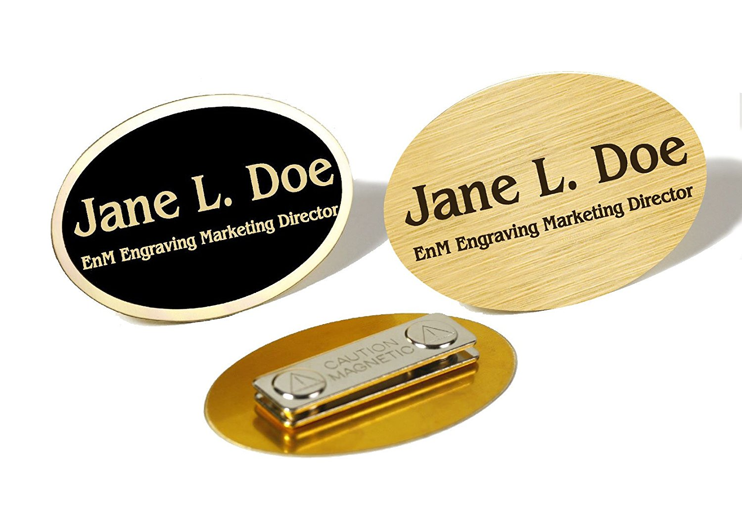 Custom Engraved Brass Name Tag Name Badge Magnetic or Pin Closure Employee Identification Plate Sign Personalized Real Metal (Brass/Black Text)