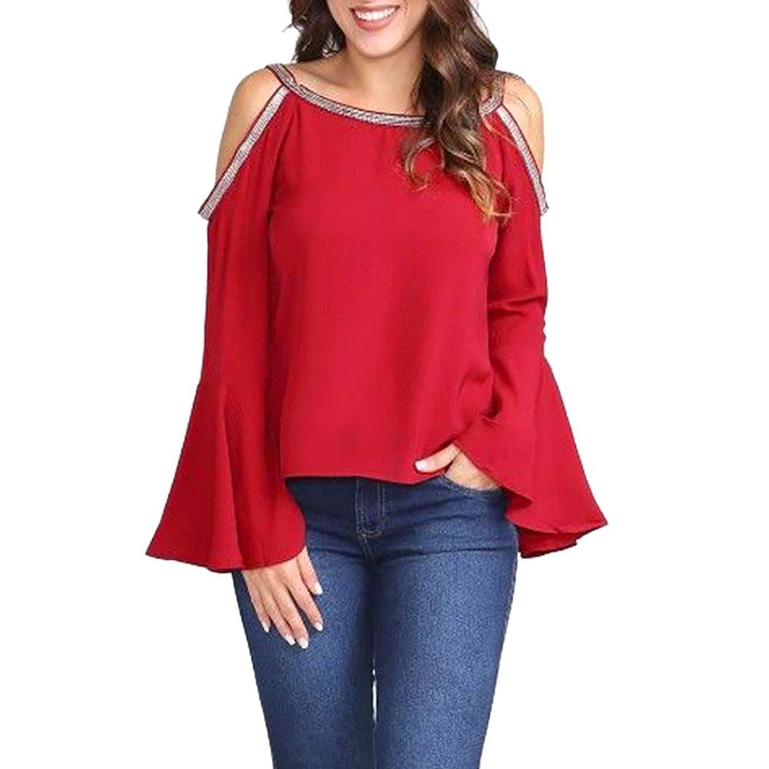 Kinrui women blouse and t-shirt Women's Cold Shoulder Solid Blouse Glitter Flare Sleeve Loose Basic T-Shirt Top