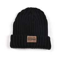 Acrylic cheap small order thick warm accept leather patch/label knit beanies