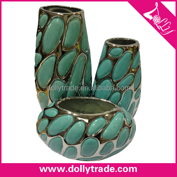 Chinese Morden Green Ceramic Vase Set Wholesale Home Decor Table Clay Vase