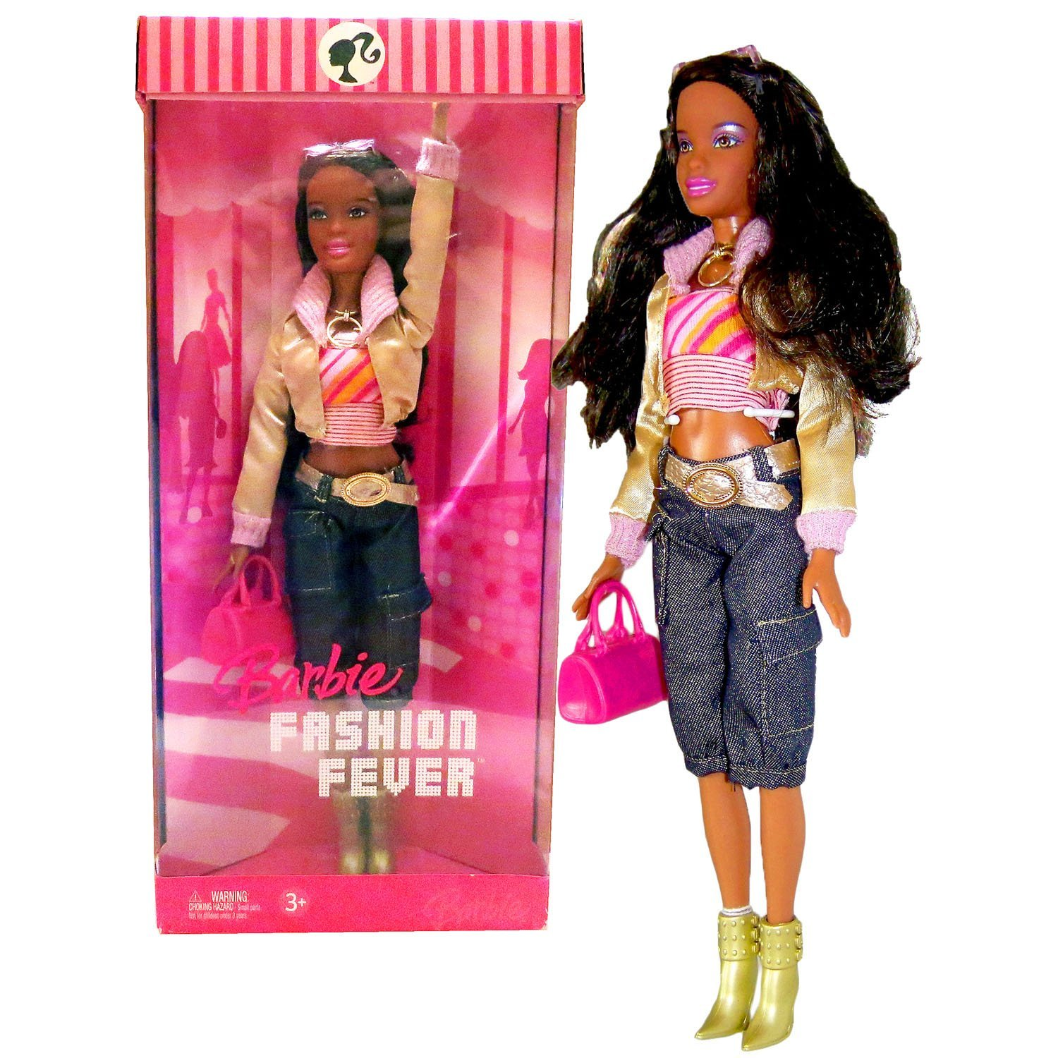 Mattel Year 2006 Barbie Fashion Fever Series 12 Inch Tall Doll Set - Sassy, Smart and Cool NIKKI (K8415) with Pink Tube Tops, Gold Jacket, Denim Pants, Sunglasses, Necklace, Purse and High Heel Boots
