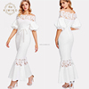 Boutique Party Maxi Dress Guipure Lace Panel Self Belted Trumpet Dress Women