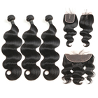 Peruvian virgin human hair bundles with lace closure, 100% Unprocessed Raw Virgin cuticle aligned hair weave