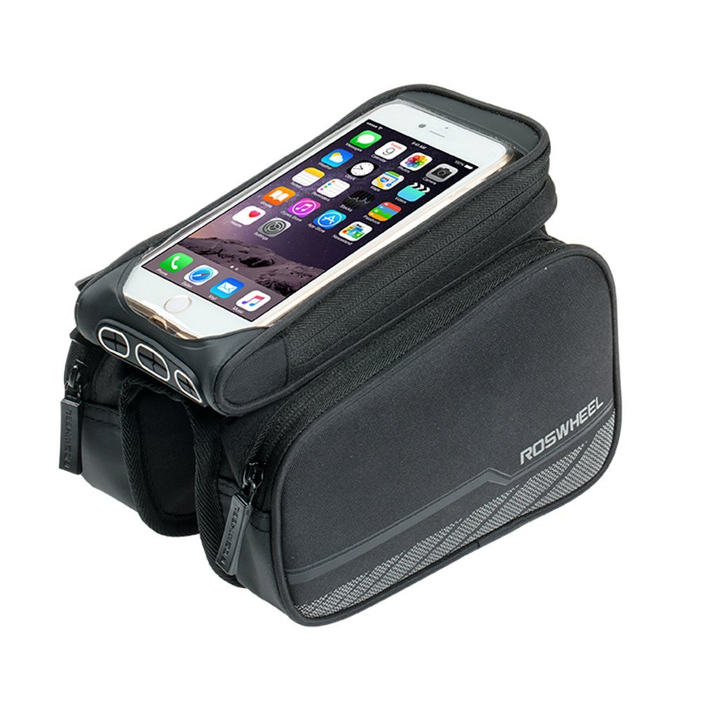 Roswheel Bicycle Frame Cellphone Bag Waterproof PVC Cycling Storage Bag with Large Capacity for MTB Road Bike