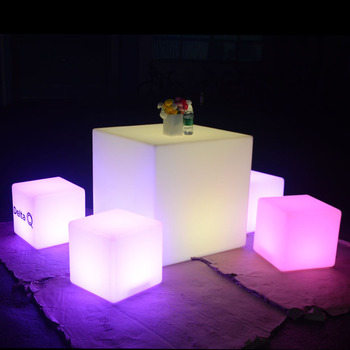 led cocktail bar table night club KTV used led light cube seat led tables and chairs