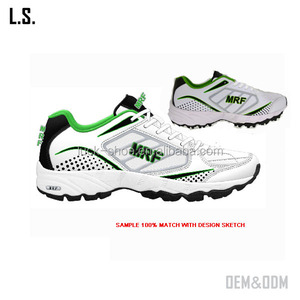 Cricket shoe factory custom made mens cricket shoes dual option spike/rubber sole