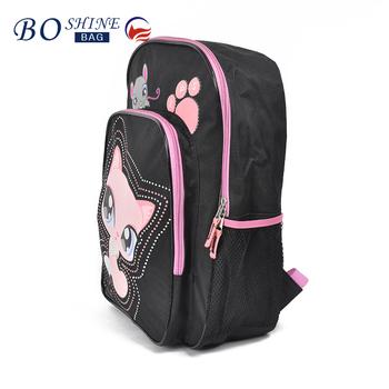 36c5fe55d152 High Quality Factory Custom Designer Kids Backpack 3D Cute Cartoon monster School  Bag Black PVC 2016